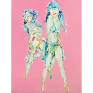 Shen Na <br />Figuras femininas. Óleo sobre tela. Assinado e datado 2003 inferior esquerdo. <br />200 x 150 cm.