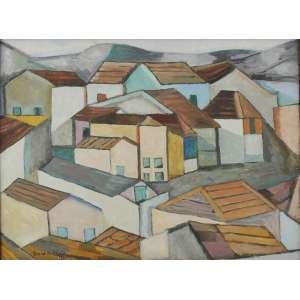 Aldo Bonadei<br />Casario, óleo sobre tela, assinado e datado, 1972 inferior esquerdo.<br />54 x 73 cm.
