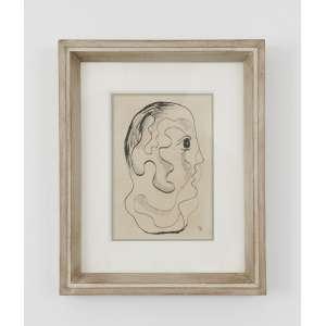 Ismael Nery <br />Cabeça, guache e nanquim sobre papel, assinado inferior direito.<br />22 x 11 cm.
