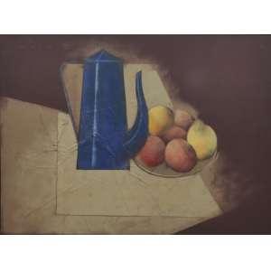 Carlos Scliar<br />Natureza morta com bule azul, vinil e colagem encerado sobre tela, assinado, datado 1982 e intitulado no verso. <br />55 x 75 cm.