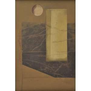 Carlos Scliar<br />Jarra e fruta, vinil e colagem encerado sobre tela, assinado e datado 76, inferior direito. Assinado, datado 24/05/76, titulado e situado Ouro Preto no verso. <br />56 x 37 cm.