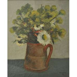 José Pancetti<br />Jarro de flores, óleo sobre tela, assinado e datado, 1943 inferior direito.<br />41 x 33 cm.