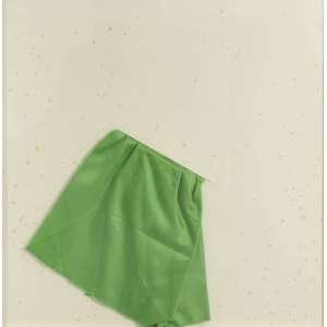 Carlos Fajardo<br />Sem título, 2010, desenho com cetim de seda verde aplicado, 49 x 49 cm.