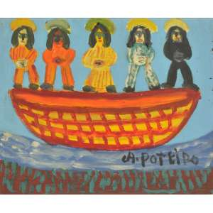 Antônio Poteiro <br />Barco Óleo sobre tela, assinado inferior direito, assinado e datado 2007 no verso. 25 x 30 cm.