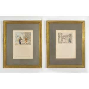 Jean-Baptiste Debret<br />Duas Litogravuras, PL.8-Officier de La Cour Se Renda Au Palais, 1822 e PL.17-Banha de Cabellos Bem Cheirosa, 1927, 42 x 30 cm. (cada)