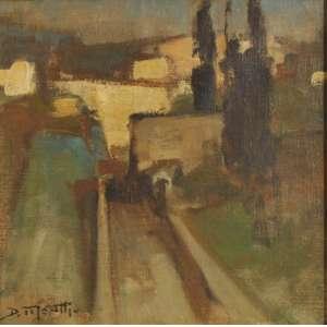 Dario Mecatti<br />Casario, óleo sobre tela, assinado inferior esquerdo, 26 x 26 cm.