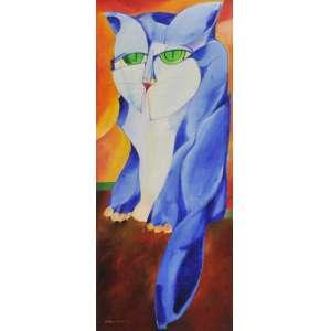 Aldemir Martins<br />Gato, óleo sobre tela, assinado e datado, 77 inferior esquerdo, assinado, datado janeiro 1977 e situado São Paulo no verso, 85 x 35 cm.