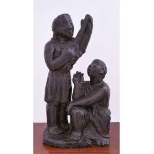Bruno Giorgi<br />Cantores, escultura em gesso pintado, assinada e datada 45 na base, 47 x 27 x 19 cm.