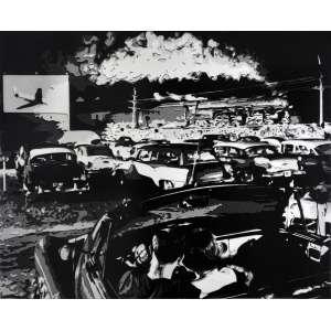 Vik Muniz<br />Hot Shot, EastBound, Lager, West Virginia, after O Winston Link - Da Série Pictures of Paper<br />Gelatina e prata, edição AP 4/5, assinada e datada 2008. 122 x 153 cm.