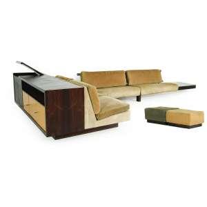 Joaquim Tenreiro<br />Conjunto de sala composto por aparador, sofá e dois puffs, Jacarandá da Bahia, estofado e mármore<br />Sofá e aparador: 70 x 470 x 220 cm, puffs: 34 x 55 x 55 cm cada.<br />Coleção David Libeskind. Estofado tem que ser refeito.