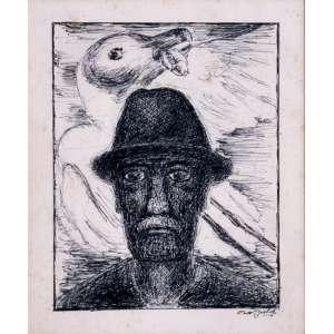 Oswaldo Goeldi<br />Figura masculina com gaivota, nanquim sobre papel, assinado inferior direito, 20 x 17 cm.