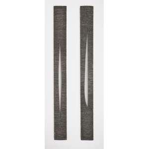 Marcos Coelho Benjamin <br />Chapas de metal montadas em madeira, Assinadas e datadas 1991, situadas BH-MG no verso. 200 x 20 cm cada.