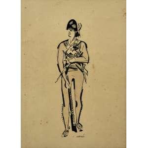 Hector Carybé <br />Cangaceiro, nanquim sobre papel, assinado inferior direito. 36 x 26 cm.