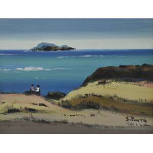Sylvio Pinto<br />Figuras na praia, óleo sobre placa, assinado inferior direito, 29 x 36 cm.