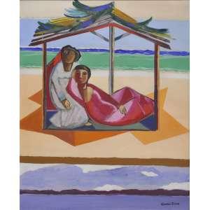 Cícero Dias<br />Figuras femininas, óleo sobre tela, assinado inferior direito e no verso, 81 x 65 cm.