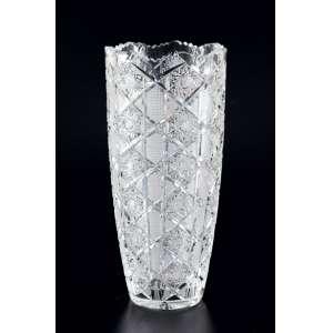 Vaso de cristal transparente no formato circular.Lapidação de girassol e bocal trabalhado - 30 x 14cm – Origem: Tchecoslováquia