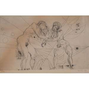 Flávio de Carvalho - Duas mulheres - desenho á bico de pena - 28/100 - 32 x 50cm - acid – 1972