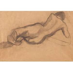 Antônio Gomide - Figura Feminina - carvão sobre papel - 43 x 40cm com desenho no verso.