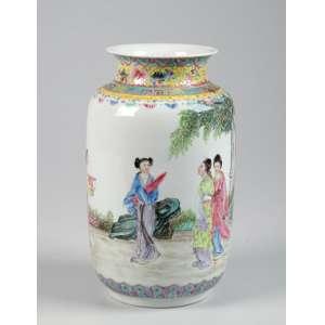 Pequeno potiche de porcelana branca com cenas cotidianas e boca aberta - 20 x 9cm - Selo vermelho exportação China