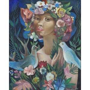 Di Cavalcanti - Primavera (Mulata com flores) - o.s.t. - 65 x 54cm - acid – 1965 – No verso etiqueta de participação na retrospectiva do artista no MAM 1971