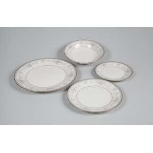 Serviço de pratos Noritake Yvory China - Salzburg - 24 rasos, 12 pão, 12 fundos, 12 sobremesa - Total 60 peças