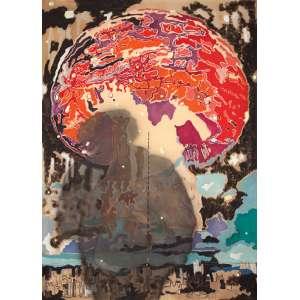 Wesley Duke Lee - A explosão - Acrílica e barbante sobre tela, 190 x 140cm - Julho, 1976 - (São Paulo, SP, Brasil, 1931). No verso etiqueta 18º Bienal de São Paulo 1985, Expressionismo uma herança Brasileira Etiqueta do atelier do artista e etiqueta da Galeria Luisa Strina