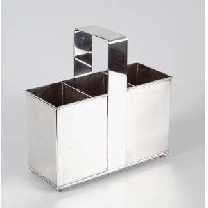 Porta garrafas com 3 divisões e alça de metal prateado - 32 x 13 x 32cm