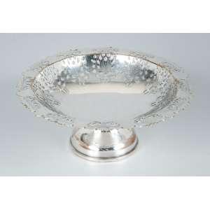 Porta-balas de metal prateado no formato circular, rendado - 15cm diâm. - Imperial
