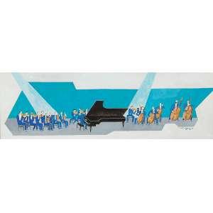 John Graz - Sem título (Orquestra) - aquarela sobre papel,27 x80,5cm - 1976 - (Genebra, Suíça, 1891 - São Paulo, SP, Brasil, 1980)