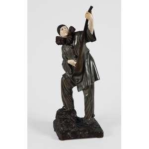 Demétre Chiparus - Arlequim - escultura em bronze e marfim - patinada - 42cm -assinada na base.