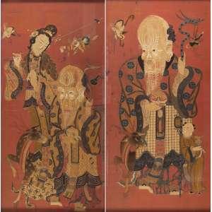 Par de painéis chineses sobre seda - Representado a Fortuna e a Fertilidade - 1,70 x 85cm. Final do séc. XIX