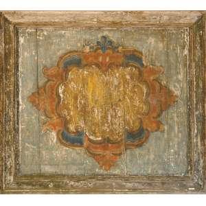 Pintura sobre madeira com florão no centro - 140 x124cm - sem assinatura