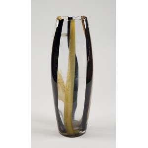 Grande vaso de cristal oblongo em tons de oliva - 45 x 11cm - Murano - Itália