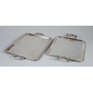 Lote com 2 bandejas de metal prateado, retangulares, 50 x 33 - 49 x 33cm