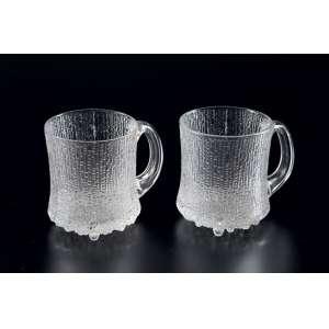 Lote com 10 canecas de vidro enrugado para chopp - Suécia