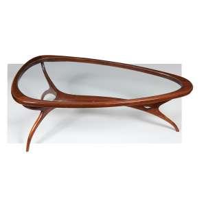 Pequena mesa de desenho moderno com 3 pés de palito, amarração, tampo de vidro. 109 x 59 x 37cm alt.