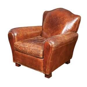 Poltrona de couro no estilo inglês forrada e com almofada. 80 x 80 x 87cm