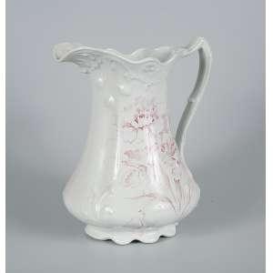 Jarro de porcelana branca com reservas rosas - 32 x 28cm - Clavel - Inglaterra