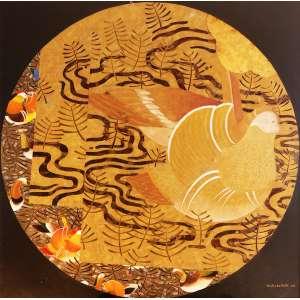 Kazuo Wakabayashi – Caleidoscópio com pássaros. Técnica mista sobre tela, 100x100 cm, 2006, ACID.