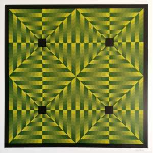 Jim Bird - Tributo a Vasarely. Fotolitografia - XIII/XXV, 66,5x66,5 cm, 1972, ACID. Sem moldura.<br />