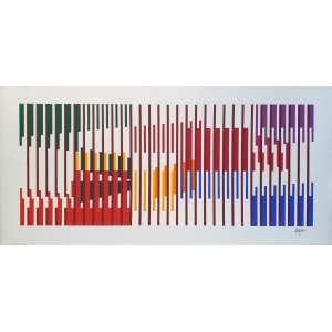 Yaacov Agam - Sem título. Serigrafia, 48,5x100,5 cm, sem data, ACID. Sem moldura.<br />