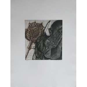 Brigitte Coudrain - Sem título. Gravura em metal - 57/80, 66x50 cm, sem data, ACID. Sem moldura. <br />