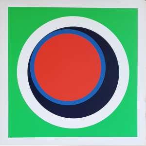Genevieve Claisse - Circles. Serigrafia - 196/200, 68x68 cm, déc 70, ACID. Sem moldura.<br />