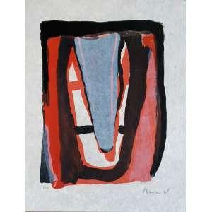 Bram Van Velde - Sem título. Litografia sobre papel artesanal - 78/100, 43x33,5 cm, sem data, ACID. Sem moldura.<br />