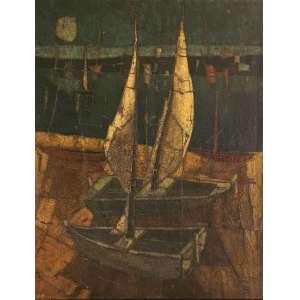 Inos Corradin - Barcos. Óleo sobre tela, 130x100 cm, déc. 70, A.C.I.E. Com moldura.