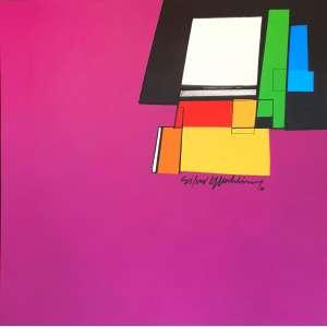 Silvio Oppenheim - Sem título. Acrílica sobre tela, 100x100 cm, 2010, A.C.D. Com moldura.<br />