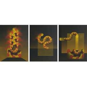 Julio Le Parc - Modulaciones n. 1. Álbum completo contendo 3 Pochoir feitos com aerógrafo e tinta acrílica - 42/50, 65x50 cm (cada), 1985, ACID. Sem moldura.<br />