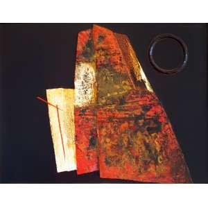 Wakabayashi, Kazuo - Sem título. Técnica mista sobre tela, 50x65 cm, déc. 70, A.C.S.D. Com moldura.<br />