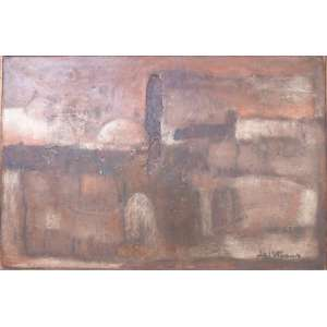 Agi Straus - Jerusalém - Óleo sobre placa - 60x90cm (80x110cm com moldura) - 1967 - ACID