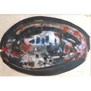 Antônio Bandeira - Abstrato - Técnica mista sobre papel - 33x48cm (cm com moldura) - 1964 - ACID - com certificado do Instituto A. Bandeira